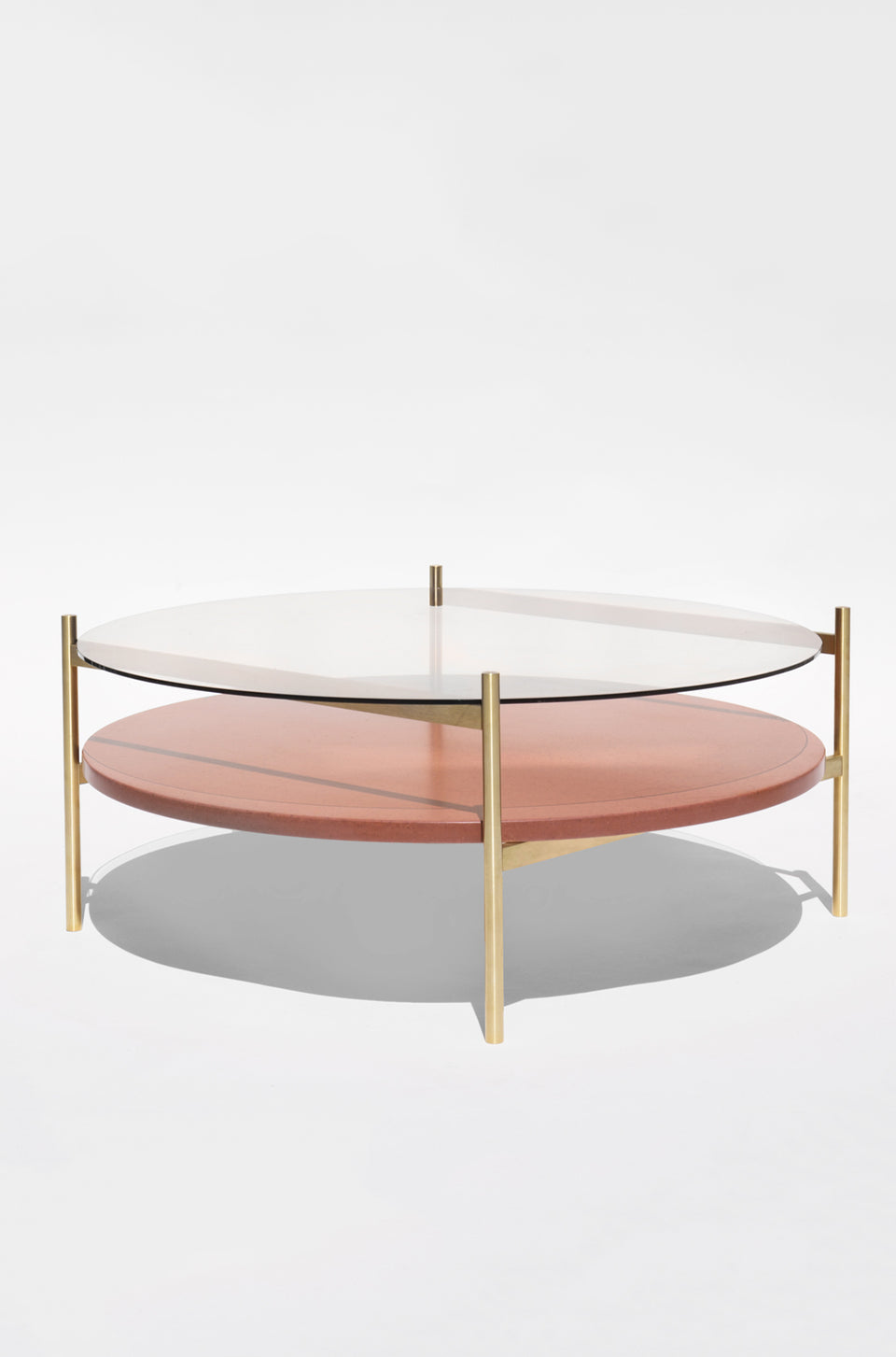 Duotone Circular Coffee Table - Brass Frame / Clear Glass / Rust Mosaic