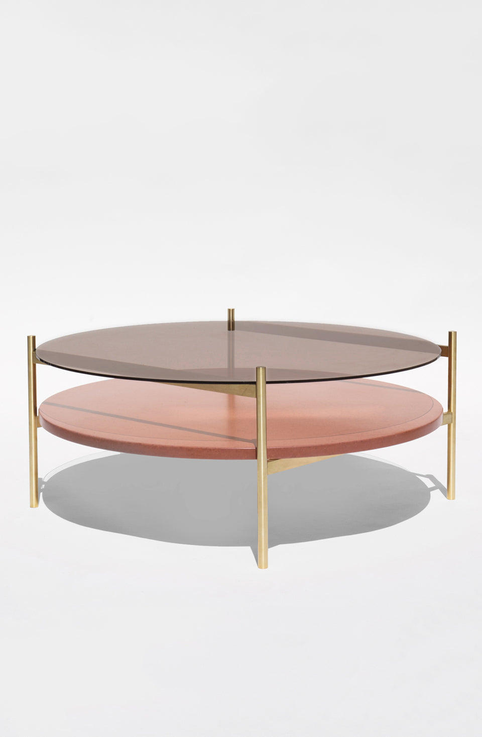 Duotone Circular Coffee Table - Brass Frame / Bronze Glass / Rust Mosaic