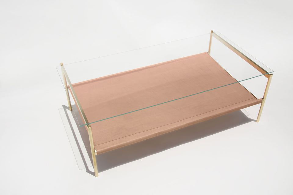 Duotone Rectangular Coffee Table - Brass Frame / Clear Glass / Natural Leather