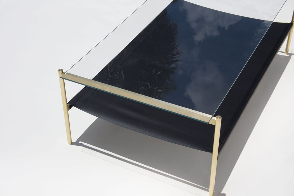 Duotone Rectangular Coffee Table - Brass Frame / Clear Glass / Black Leather
