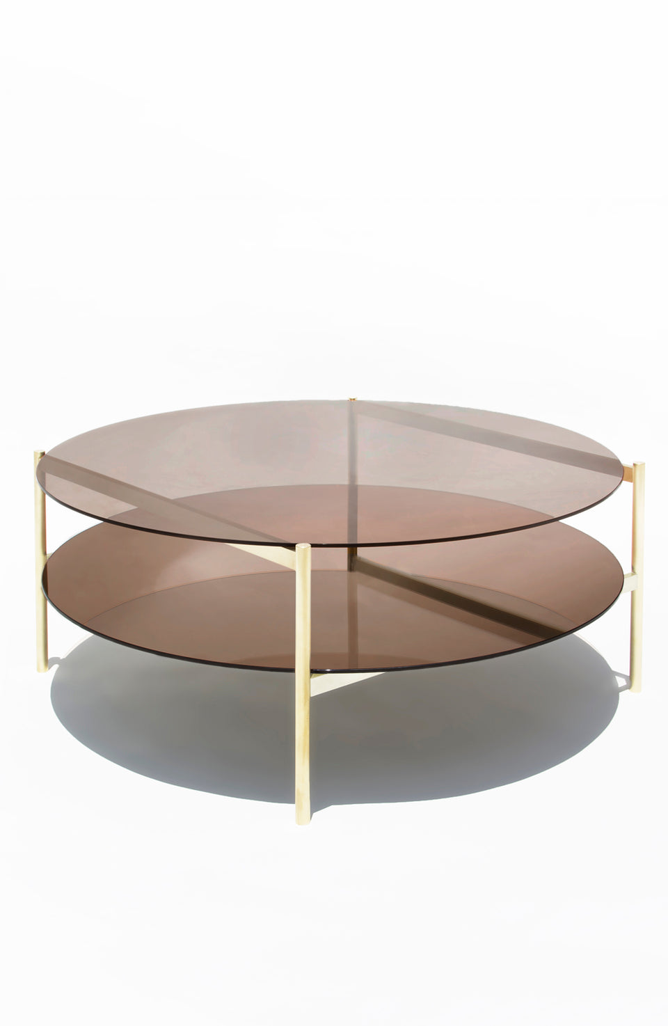 Duotone Circular Coffee Table - Brass Frame / Bronze Glass / Bronze Mirror