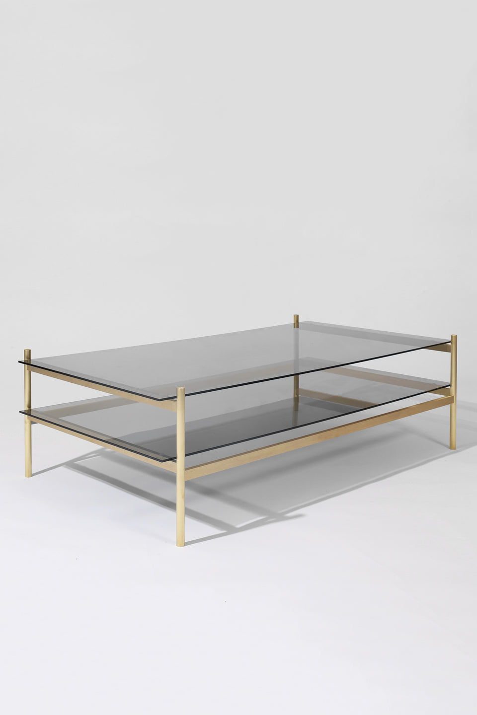 Duotone Rectangular Coffee Table - Brass Frame / Smoked Glass / Smoked Glass