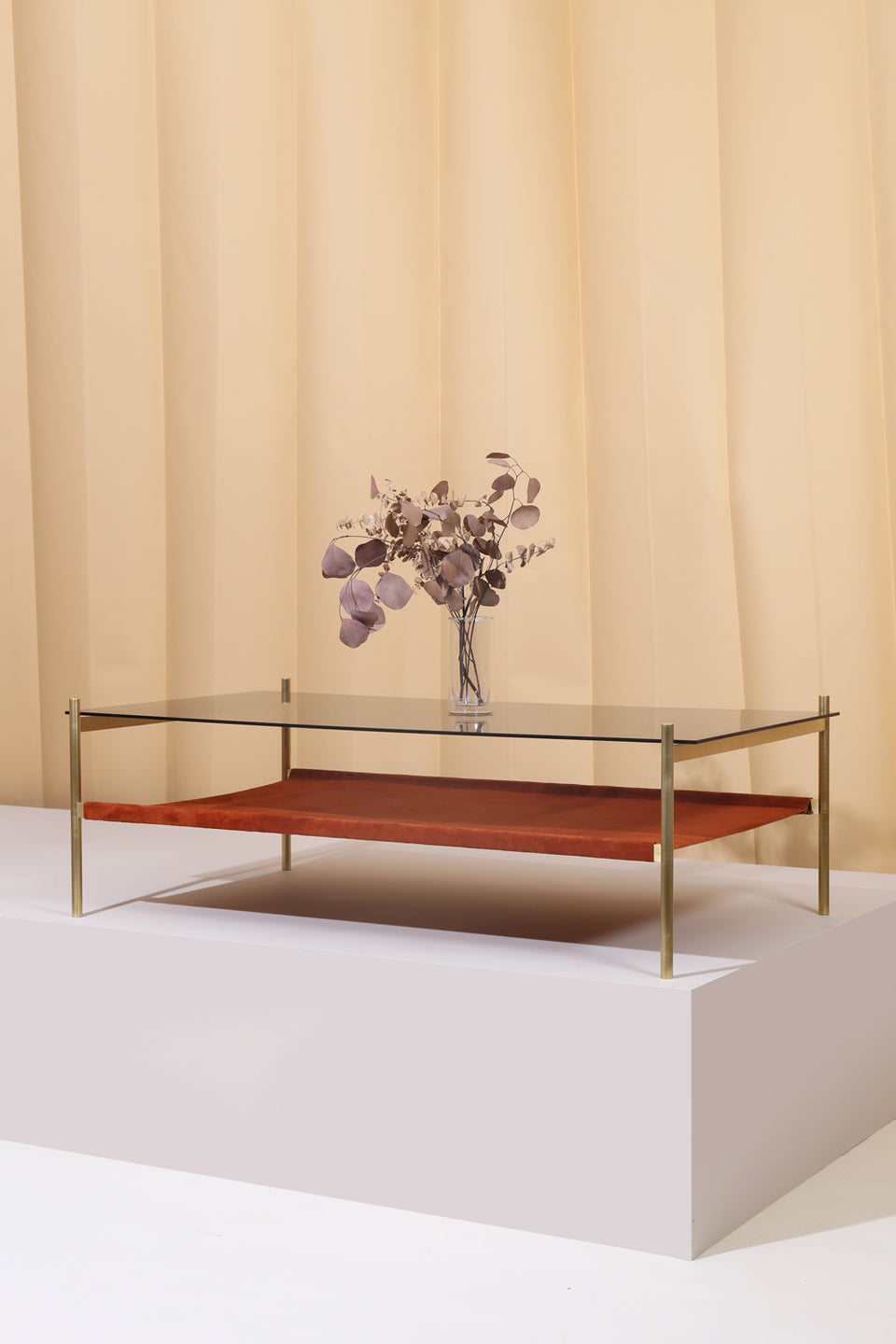 Duotone Rectangular Coffee Table - Brass Frame / Smoked Glass / Rust Suede