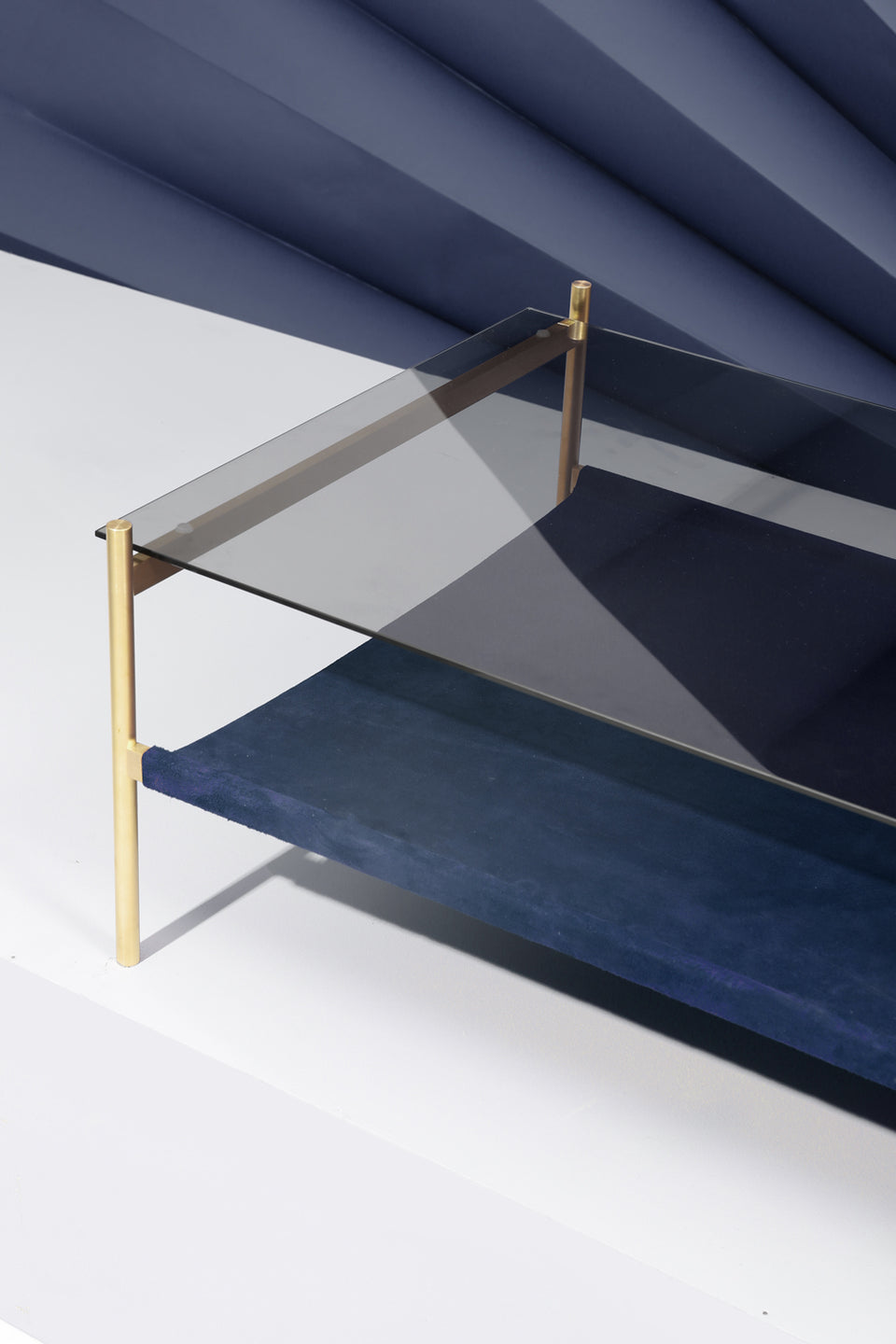 Duotone Rectangular Coffee Table - Brass Frame / Smoked Glass / Navy Suede