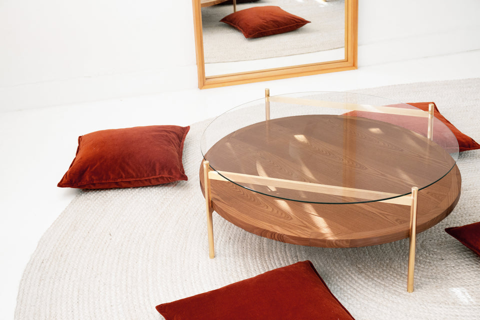 Duotone Circular Coffee Table - Brass Frame / Clear Glass / Walnut Finish