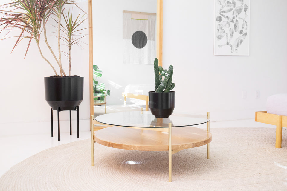 Duotone Circular Coffee Table - Brass Frame / Clear Glass / Ash Wood