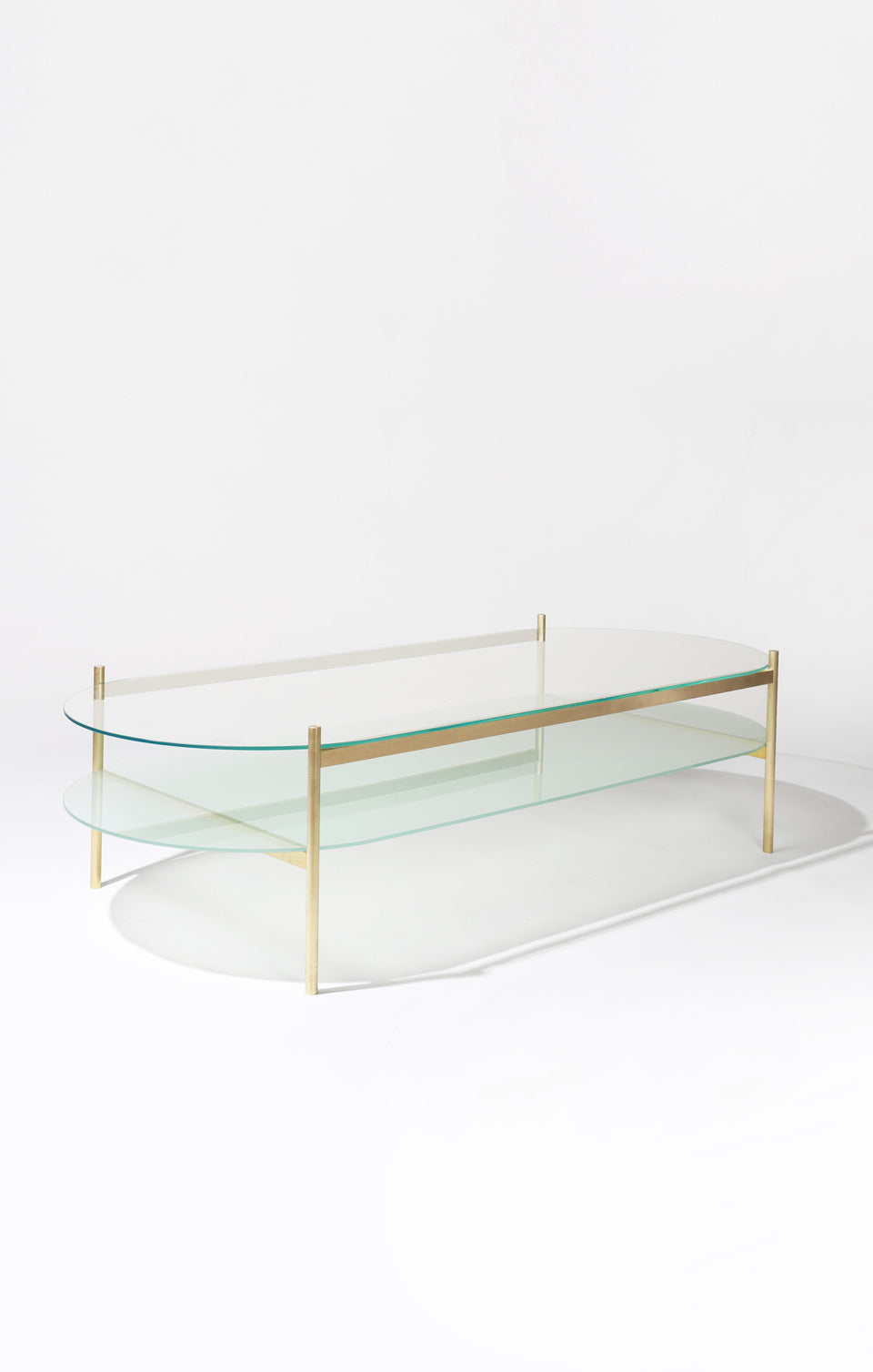 Duotone Pill Coffee Table - Brass Frame / Clear Glass / Frosted Glass