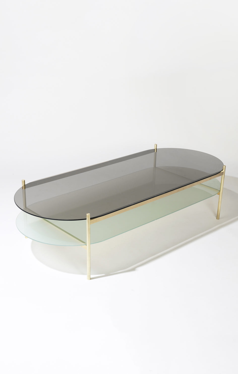 Duotone Pill Coffee Table - Brass Frame / Smoked Glass / Frosted Glass