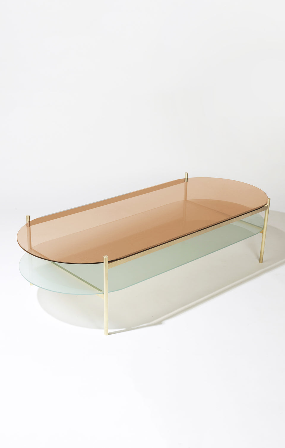 Duotone Pill Coffee Table - Brass Frame / Rose Glass / Frosted Glass