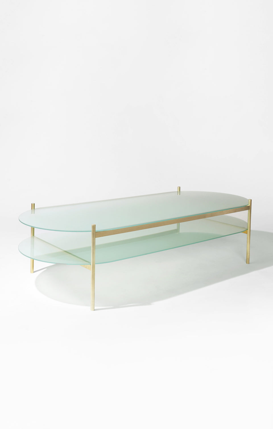 Duotone Pill Coffee Table - Brass Frame / Frosted Glass / Frosted Glass