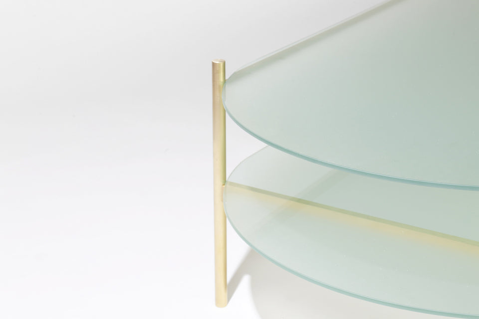 Duotone Pill Coffee Table   Brass Frame / Frosted Glass / Frosted Glass