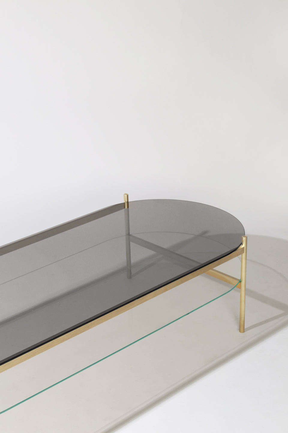 Duotone Pill Coffee Table - Brass Frame / Smoked Glass / Clear Glass