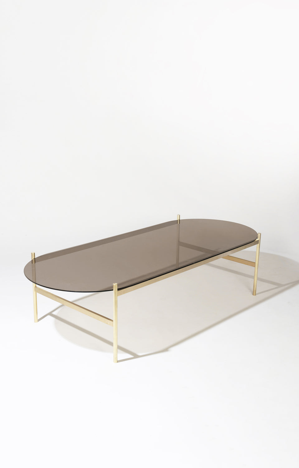 Duotone Pill Coffee Table - Brass Frame / Bronze Glass