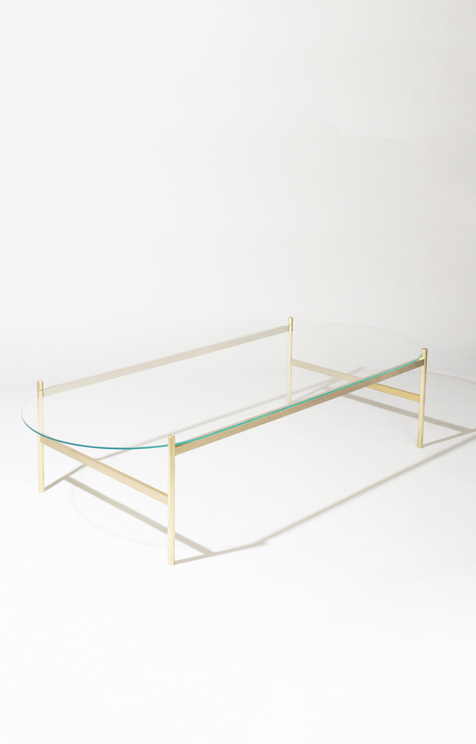 Duotone Pill Coffee Table - Brass Frame / Clear Glass