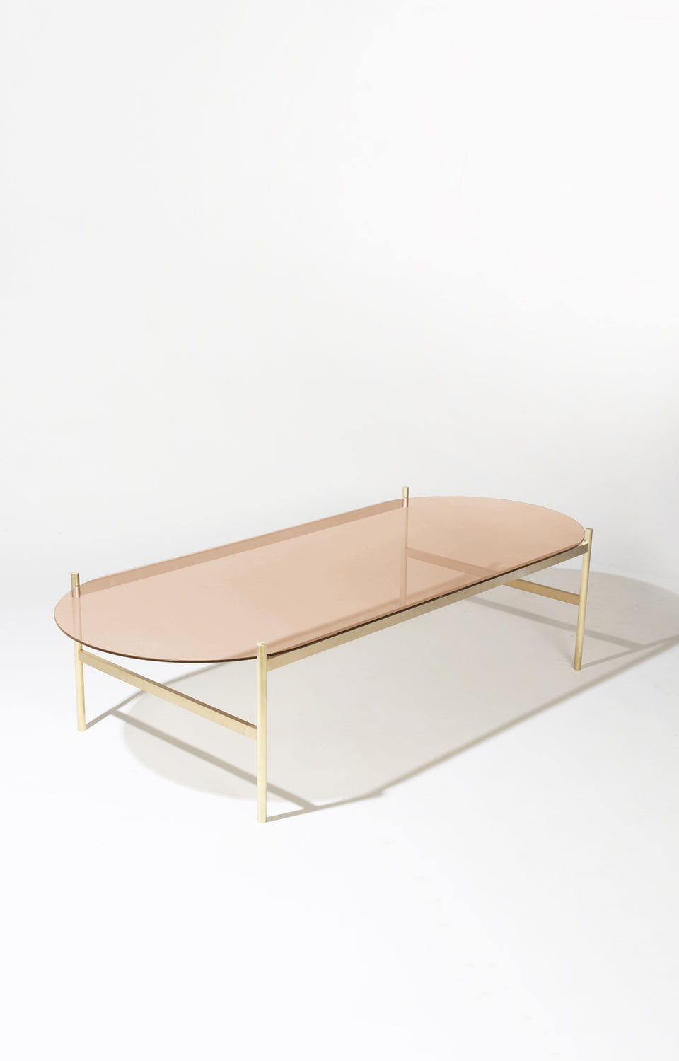Duotone Pill Coffee Table - Brass Frame / Rose Glass