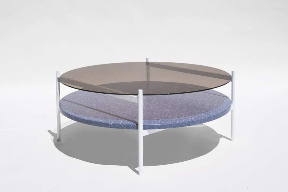 Duotone Circular Coffee Table - White Frame / Bronze Glass / Blue Mosaic