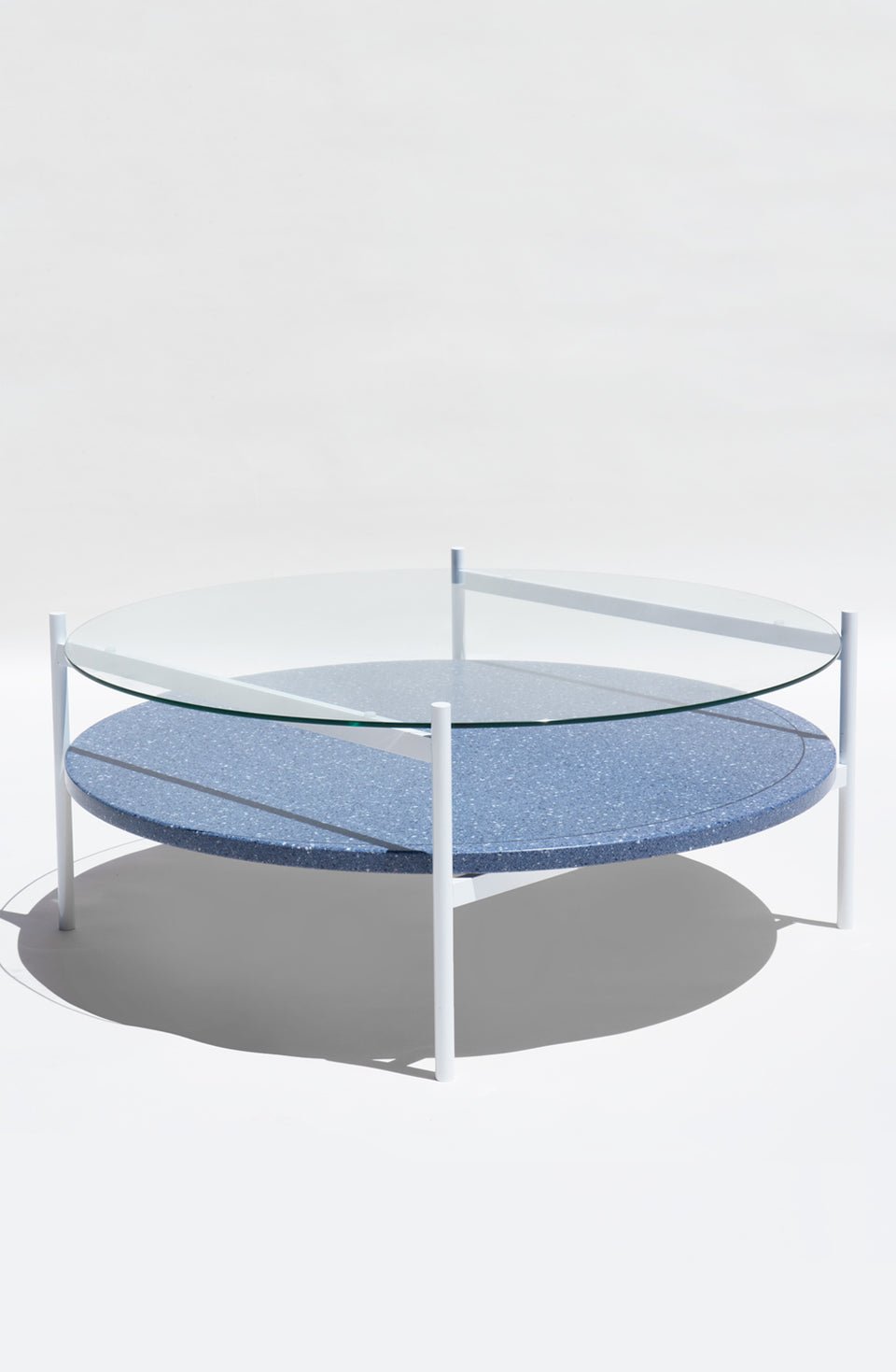 Duotone Circular Coffee Table - White Frame / Clear Glass / Blue Mosaic