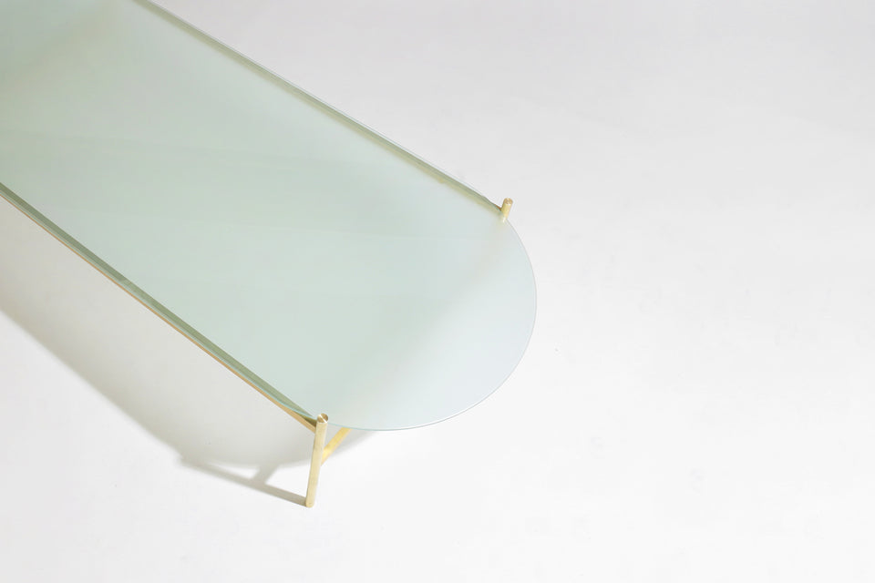 Duotone Pill Coffee Table - Brass Frame / Frosted Glass