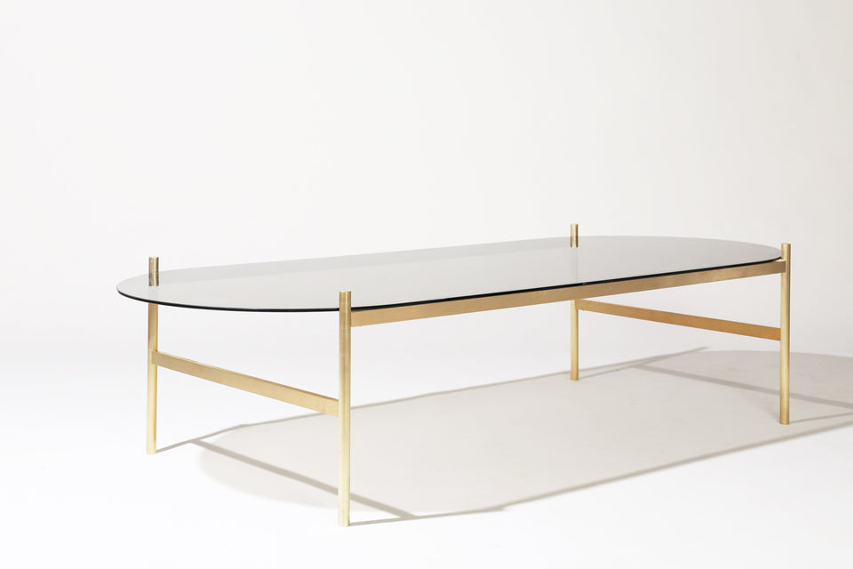 Duotone Pill Coffee Table - Brass Frame / Smoked Glass