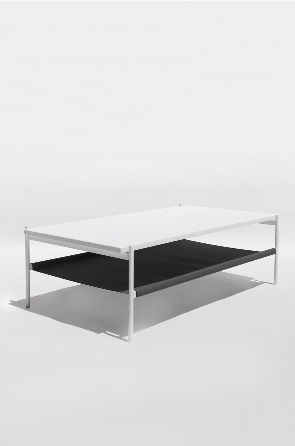 Duotone Rectangular Coffee Table - White Frame / White Mosaic / Black Leather