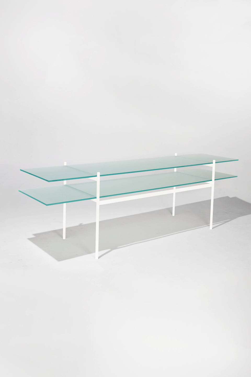 Duotone Rectangular Console Table - Ivory Frame / Frosted Glass / Frosted Glass