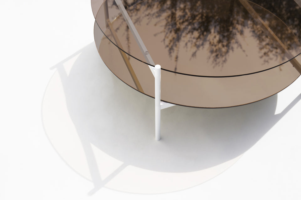 Duotone Circular Coffee Table - White Frame / Bronze Glass / Bronze Mirror