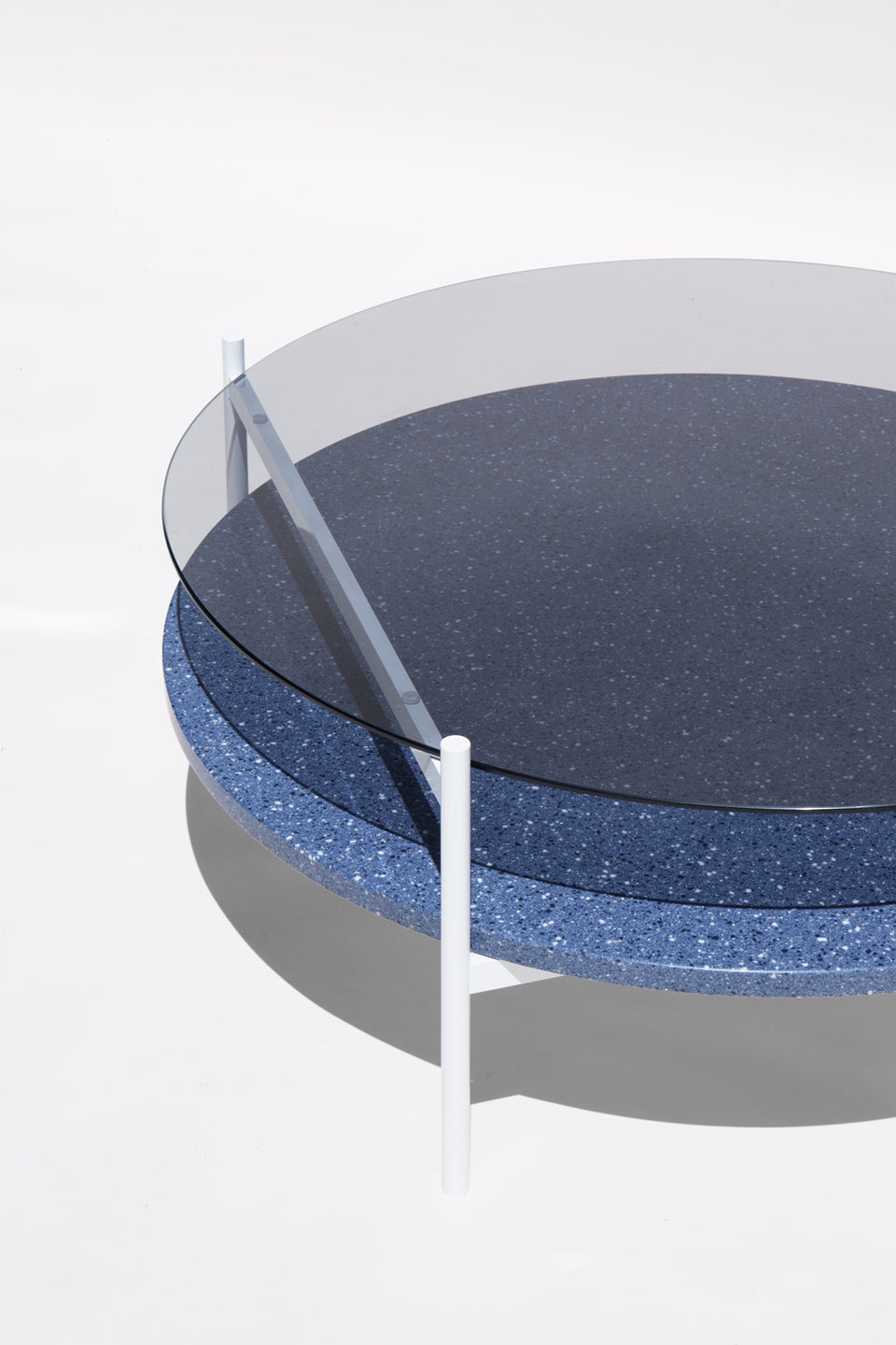 Duotone Circular Coffee Table - White Frame / Smoked Glass / Blue Mosaic