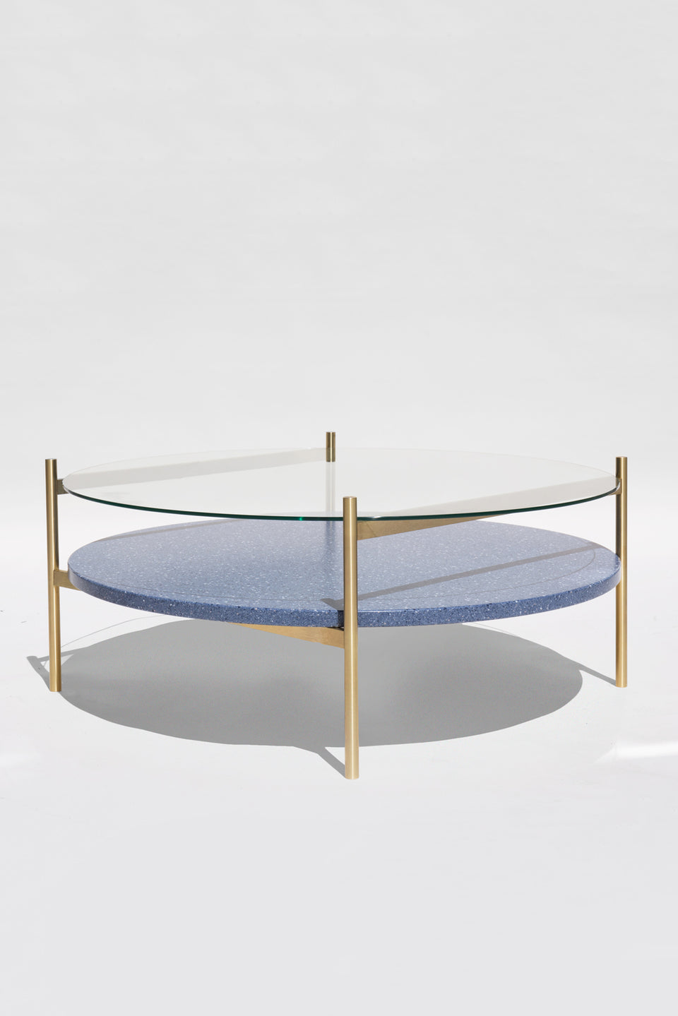 Duotone Circular Coffee Table - Brass Frame / Clear Glass / Blue Mosaic