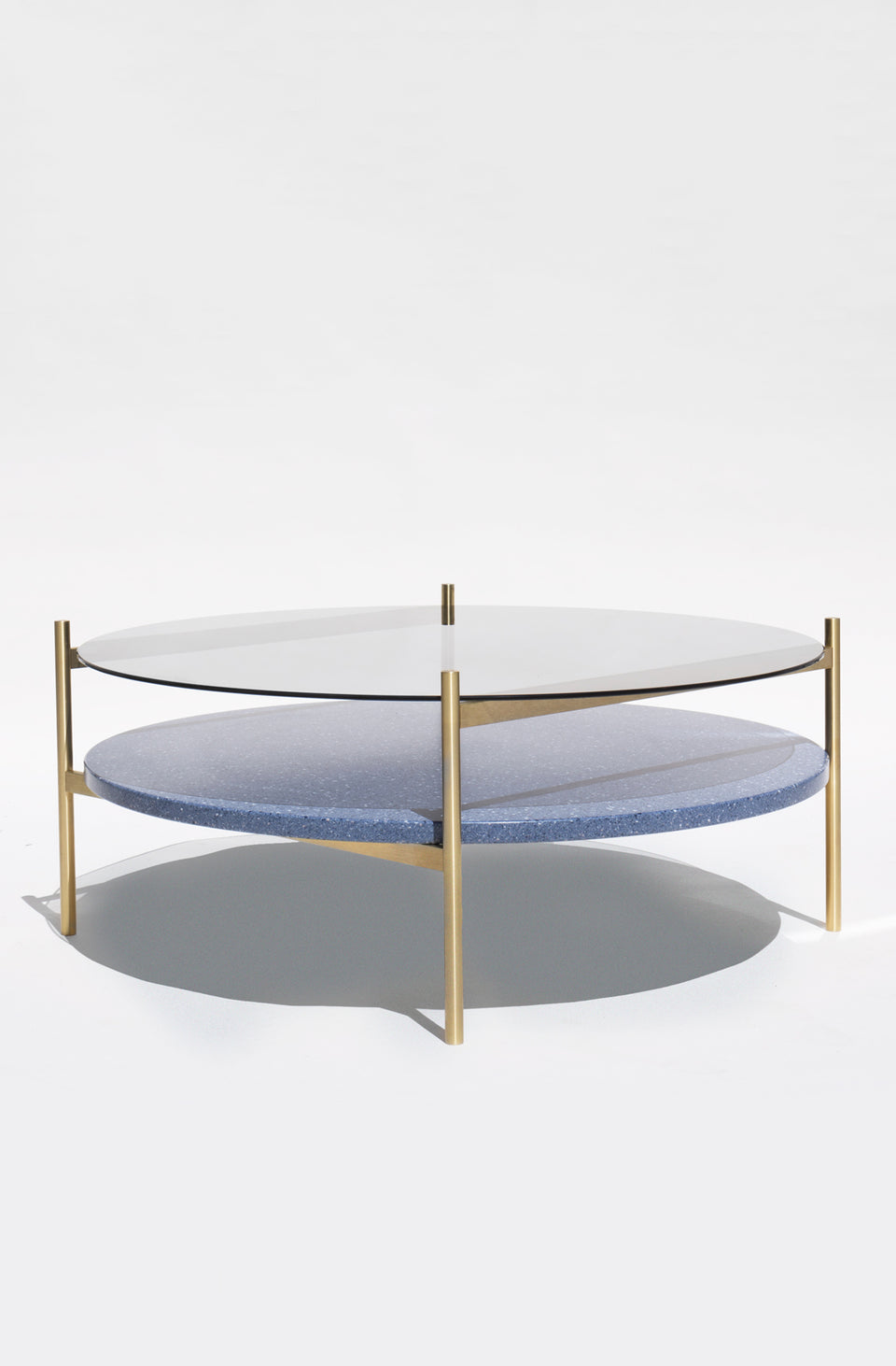 Duotone Circular Coffee Table - Brass Frame / Smoked Glass / Blue Mosaic