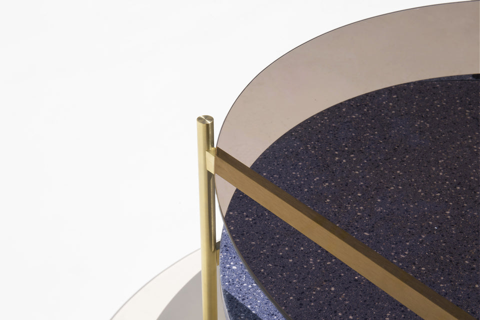 Duotone Circular Coffee Table - Brass Frame / Bronze Glass / Blue Mosaic