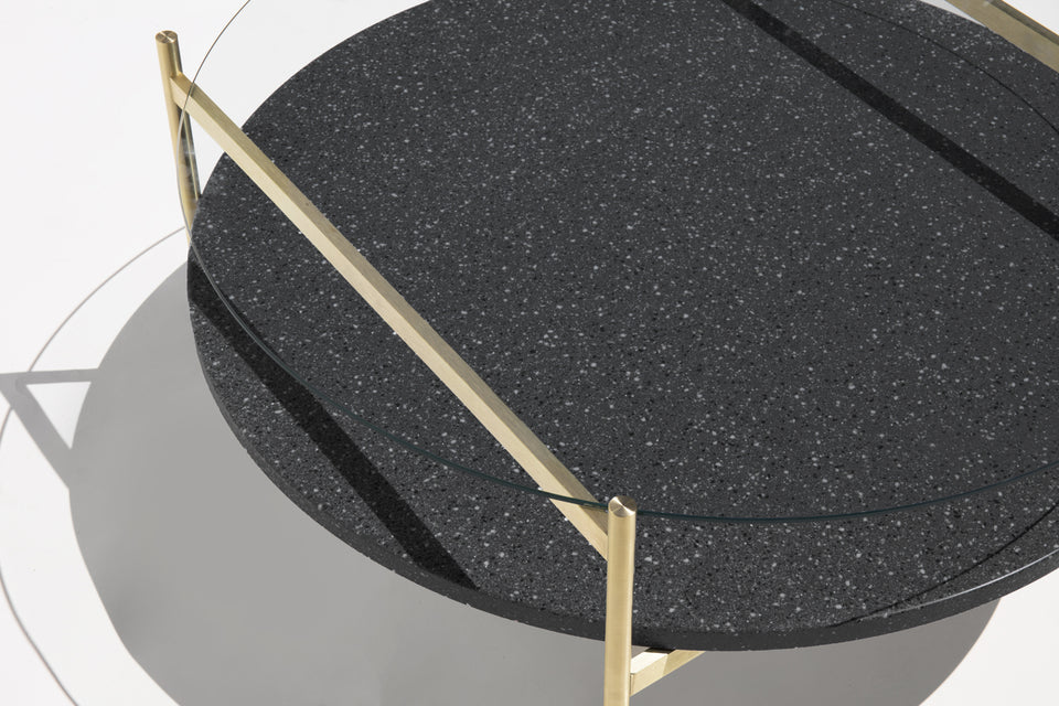 Duotone Circular Coffee Table - Brass Frame / Clear Glass / Black Mosaic