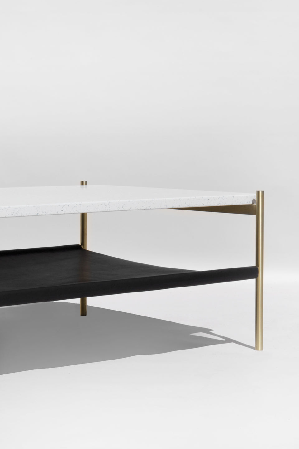 Duotone Rectangular Coffee Table - Brass Frame / White Mosaic / Black Leather