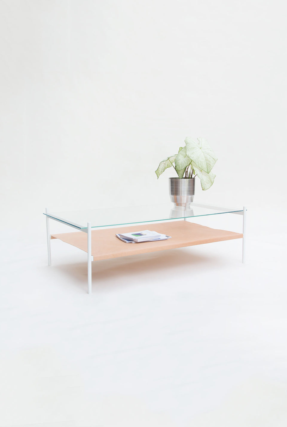 Duotone Rectangular Coffee Table - White Frame / Clear Glass / Natural Leather