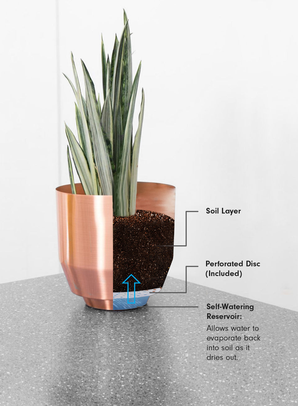 "8"" Spun Planter - Copper"