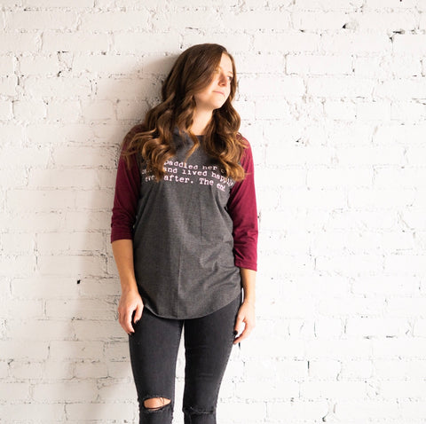Adult Women's Unisex Fit Raglan - Grey & Burgundy