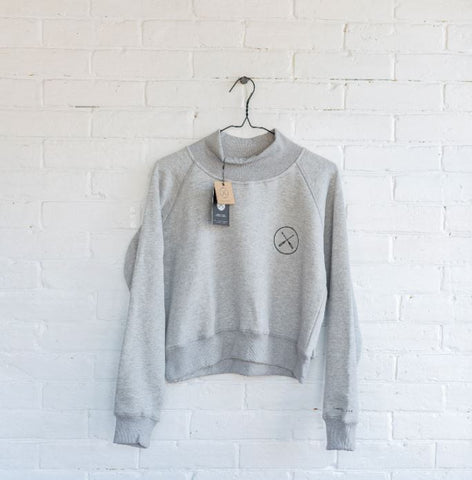2021 Adult Woman's Paddle On Mock Neck Crop Sweater - Grey