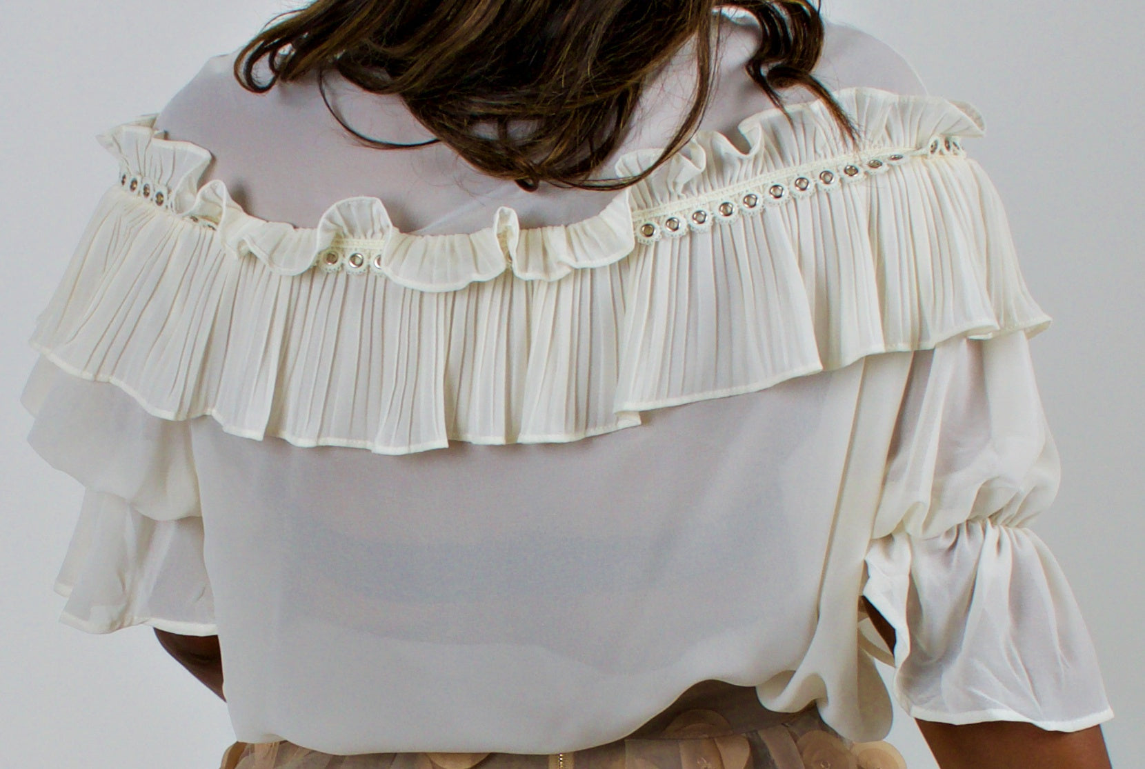 The Carmen- White V Neck Ruffled Layer Eyelet Top