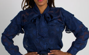 The Gizelle Floral Scarf-Neck Top with Tiered Ruffled Shoulders