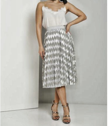 The Layla Skirt-Silver Pleated