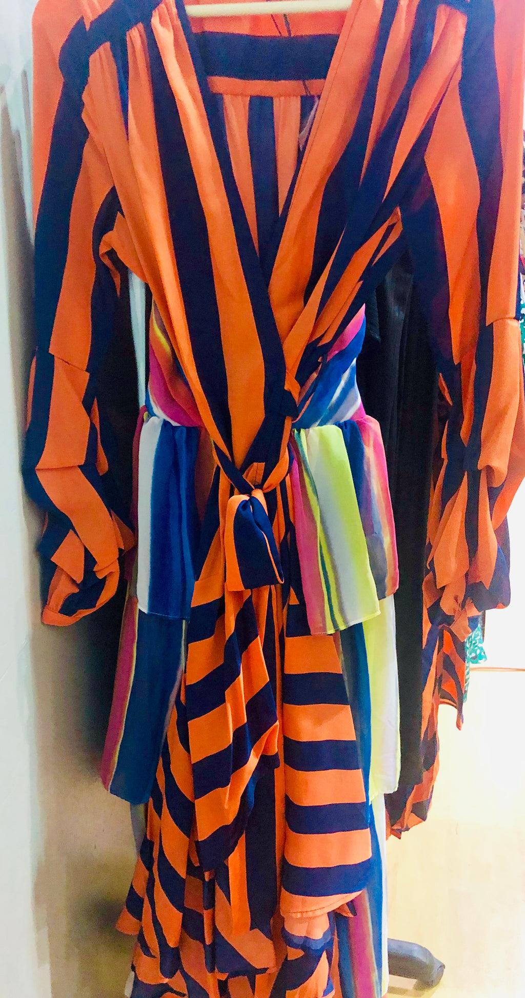 Orange / Navy Blue Wrap Dress