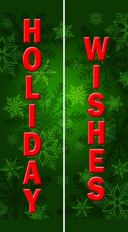 Green Snowflake Holiday Wishes Double Banner - 8'