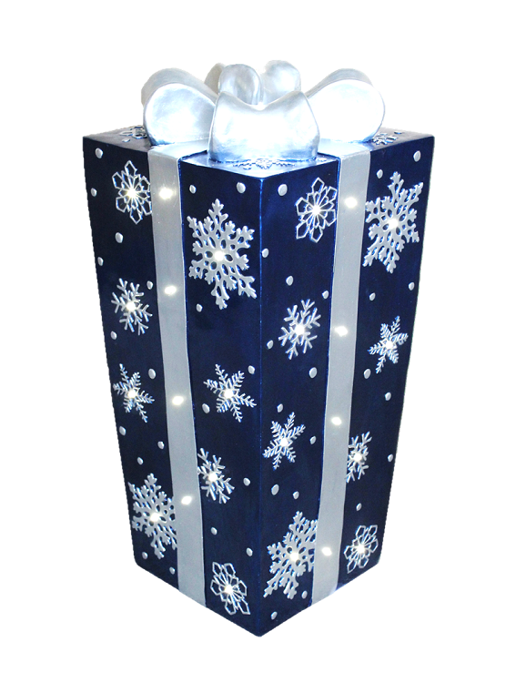Blue wth Silver Bow and Snowflakes