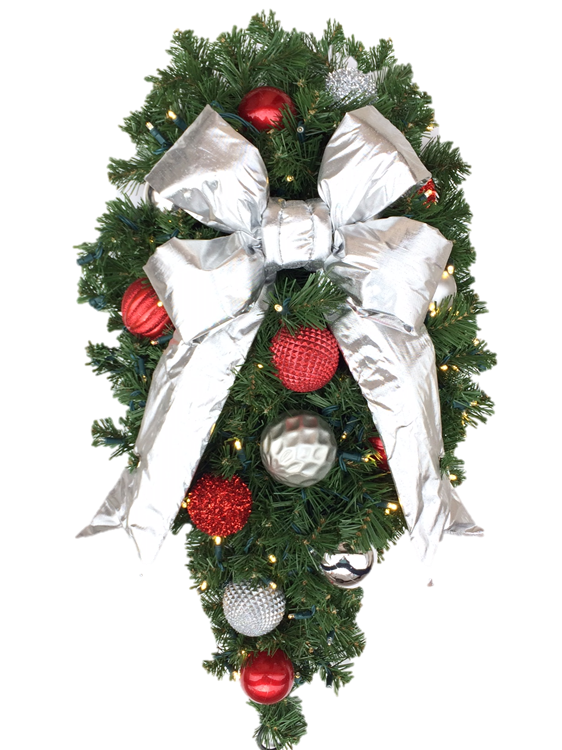 "3' Spray, Candy Cane Decor with 12"" Silver Bow"