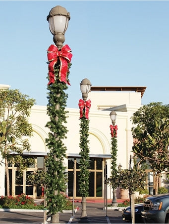 Double Bow Pole Decoration with Garland