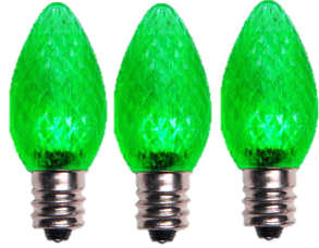 LED C7 Green Faceted Bulbs - Box of 25 Bulbs