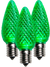 LED C9 Green Faceted Bulbs - Box of 25 Bulbs