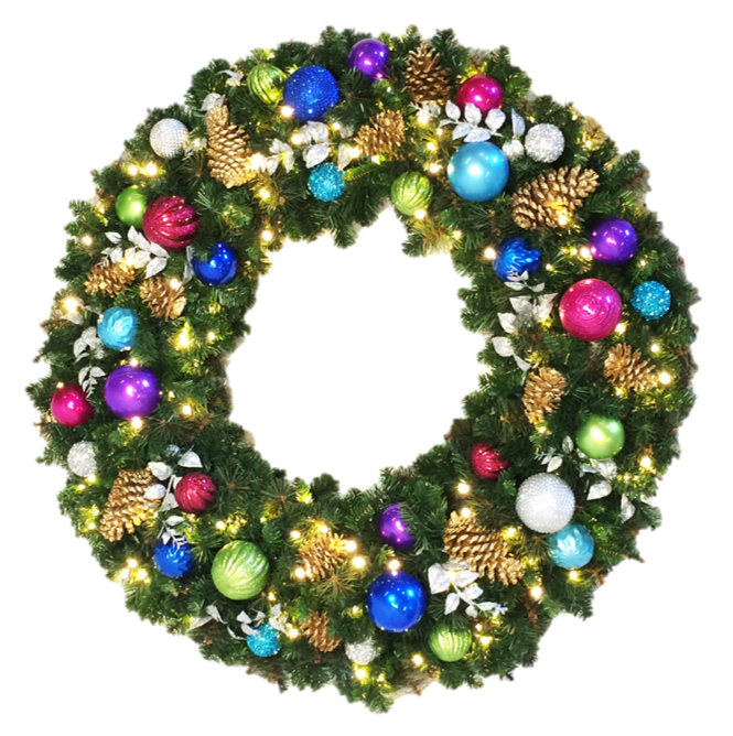 Wreath - Jewel Decor - No Bow - 3'-8' Sizes