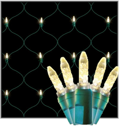 LED Net Lights 4'x6' Green Wire, Warm White Bulbs