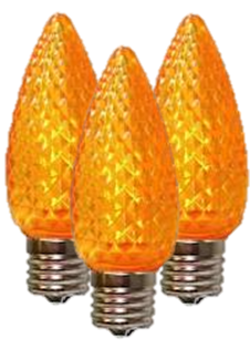 LED C9 Orange Faceted Bulbs - Box of 25 Bulbs