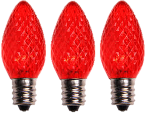 LED C7 Red Faceted Bulbs - Box of 25 Bulbs